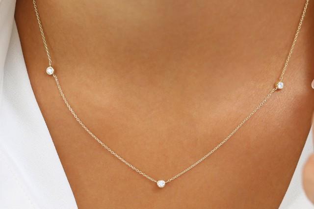 Diamond Necklace 14k Gold 3 Stone Bezel Setting Diamond Necklace