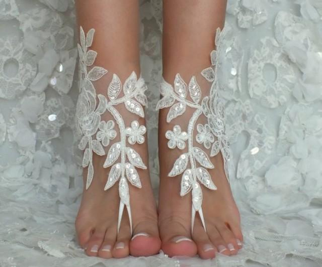 a794ce8d42eb6 Beach Wedding Barefoot Sandals Ivory Lace Beach Shoes Bridesmaids ...