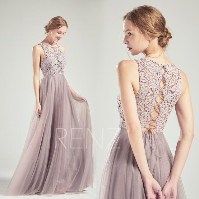 Party Dress Dark Mauve Tulle Bridesmaid Dress Lace Prom Dress