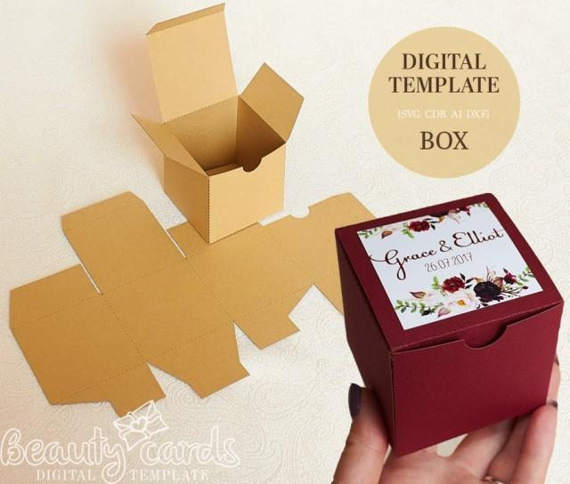 Gift Box Template Diy Svg Square Wedding Favor Party Shower Ai Dxf Cdr Laser Cut File Cameo Cricut 2892518