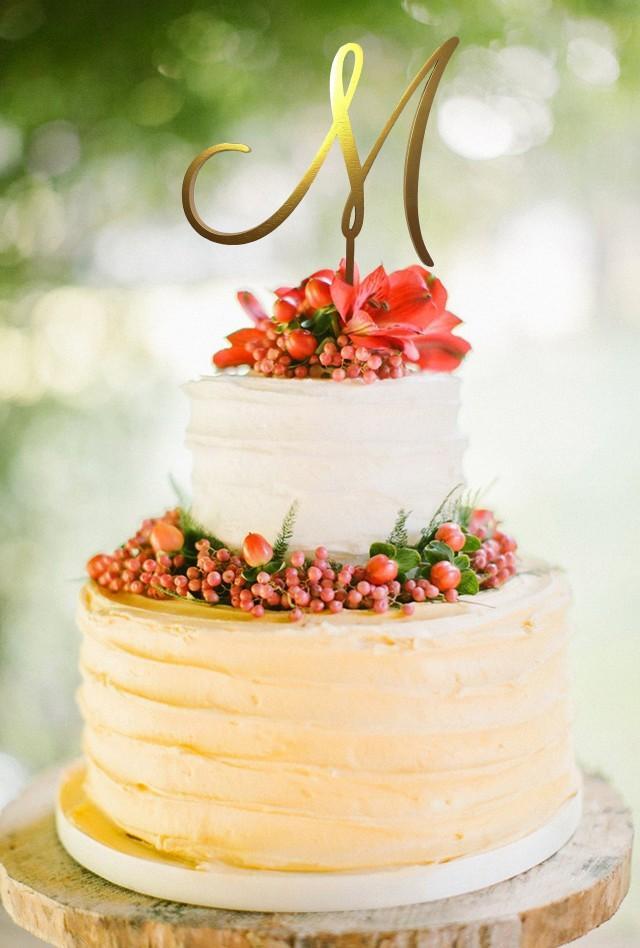 Wedding Cake Topper Cake Topper Letter M Initials Cake Topper