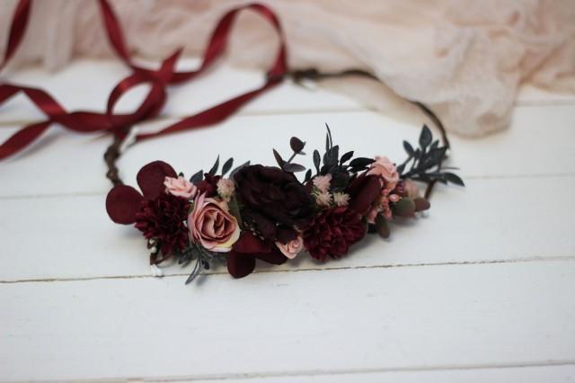 Pink and Blush Flower Crown Blush flower crown Pink flower crown Pink headpiece Bridal hairpiece  Pink  Flower girl Bridesmaid Hair flowers