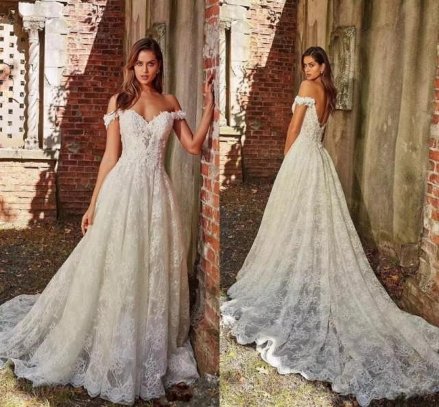 Discount Hot Off The Shoulder Lace Wedding Dresses A Line