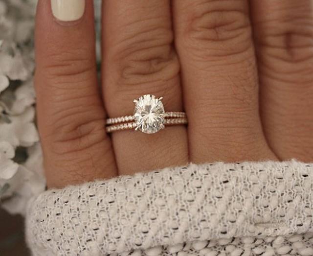 Moissanite Oval 9x7mm Engagement Ring Bridal Ring Set Diamond Wedding Band Forever Classic Moissanite Rose Gold Ring Diamond Ring 2918163 Weddbook