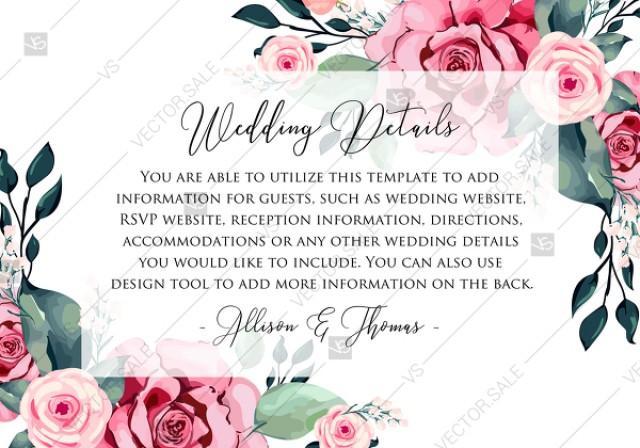 Wedding Detail Card Watercolor Rose Floral Greenery Pdf 5x3