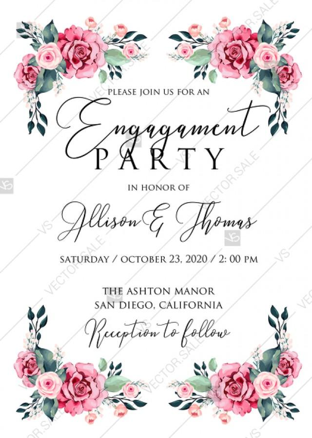 Engagement Invitation Watercolor Rose Floral Greenery 5 X 7