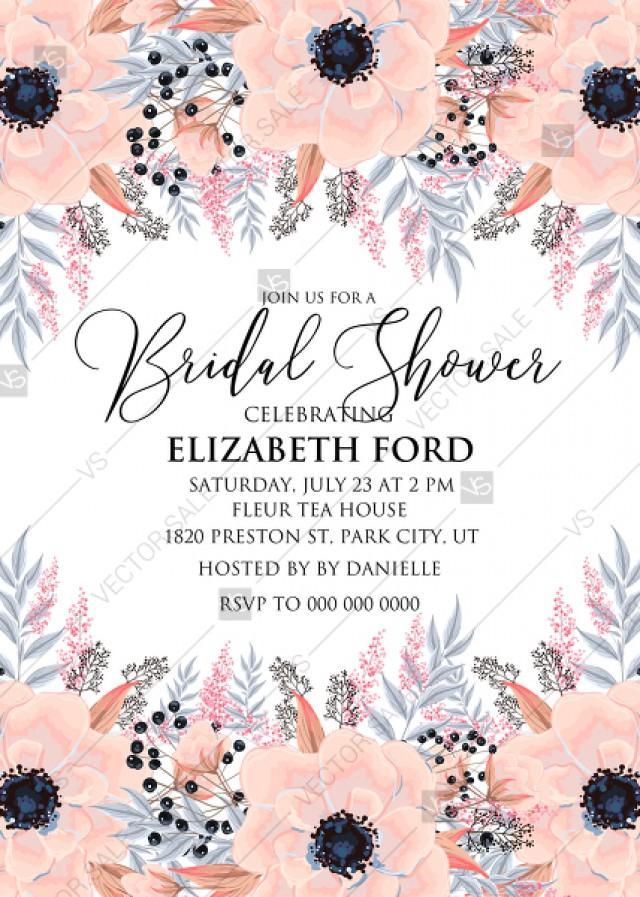 Anemone Bridal Shower Invitation Card Template Blush Pink Watercolor Flower Pdf 5x7 In Pdf Maker 2950061 Weddbook
