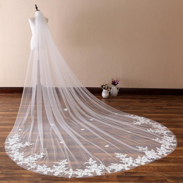 Vintage Lace Wedding Veil Cathedral Wedding Veil Bridal Veil Lace On Bottom Floral Lace Wedding Veil Romantic Soft Chapel Veil Plain Edge 1t 2950930 Weddbook