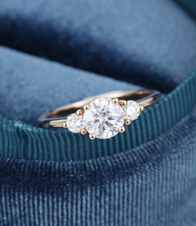Moissanite Engagement Ring Rose Gold Three Stone Engagement Ring