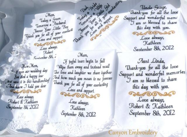 Wedding Gifts Custom Set of Six Personalized Custom Embroidered Wedding Handkerchiefs by Canyon Embroidery