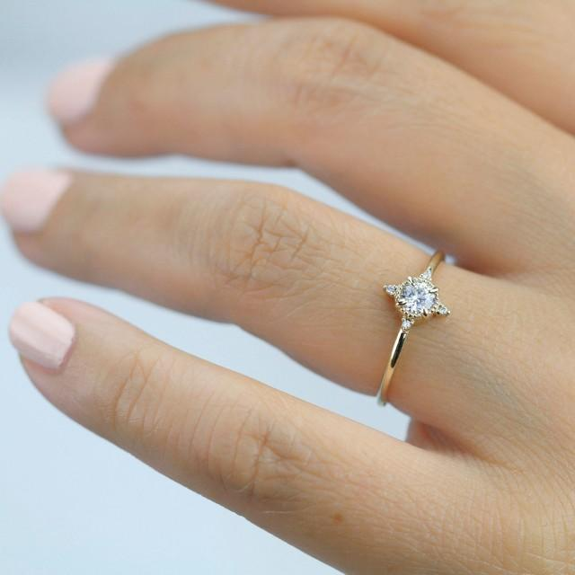 Engagement Ring Diamond Ring Dainty Engagement Ring Simple Ring