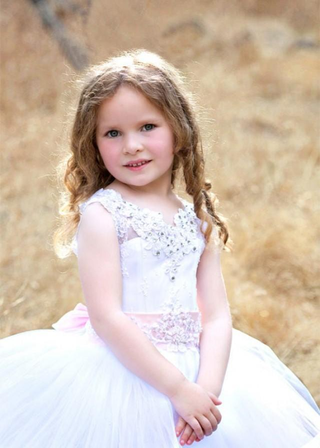 New Flower Girl Dress Princess Special Occasion Party Wedding WHITE  IVORY LACE