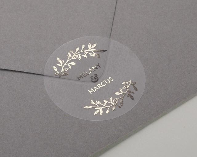 Envelope Seals Foiled Wedding Label Clear envelope sticker Wedding Stickers Clear Wedding Stickers Gold foil Custom Clear