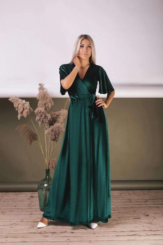 Emerald Green Velvet Dress Flutter Sleeve Long Dress