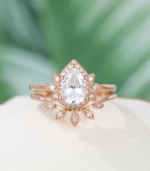 Round Moissanite engagement ring rose gold art deco engagement ring vintage Round Diamond Moissanite ring Anniversary gift for women