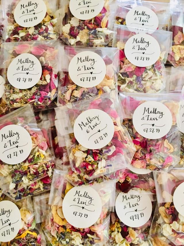 Hand Stamped Biodegradable Confetti Wedding Bags Tissue Hearts Peach Pink White