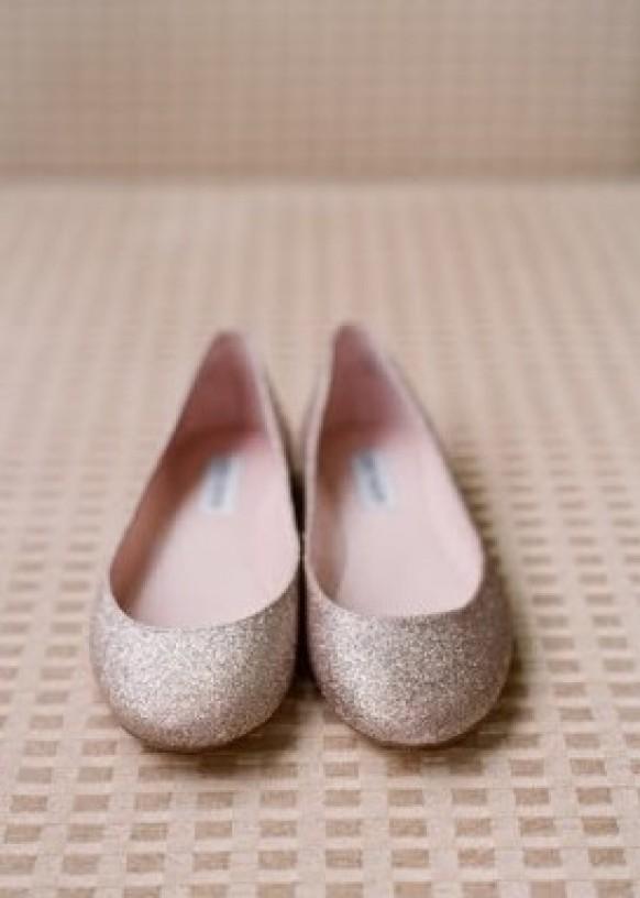 Silver Sparkly Wedding Flats ♥ Glitter