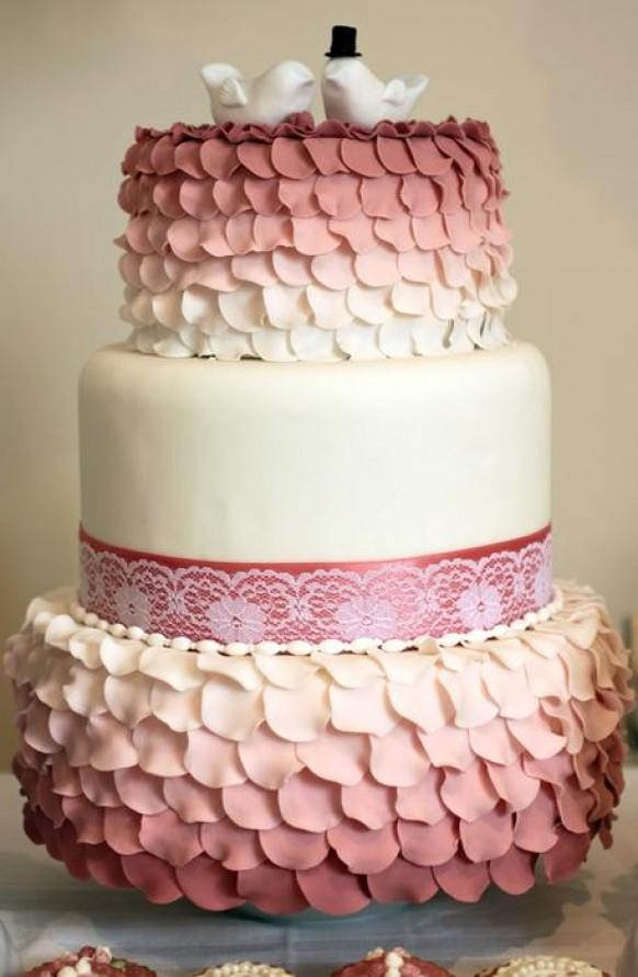 wedding cake with rose petals wedding ruffled petals wedding cake 1983658 26958