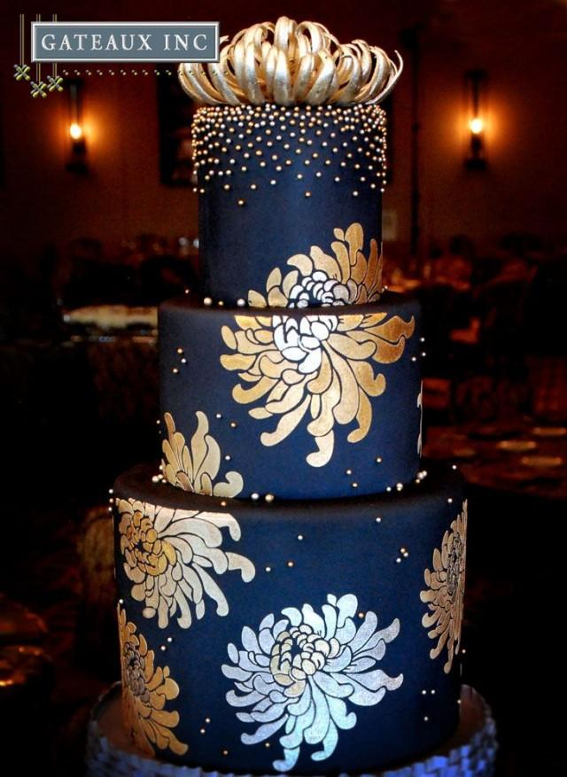 blue and gold wedding cake navy and gold wedding cake gateaux inc 2035563 weddbook 11943
