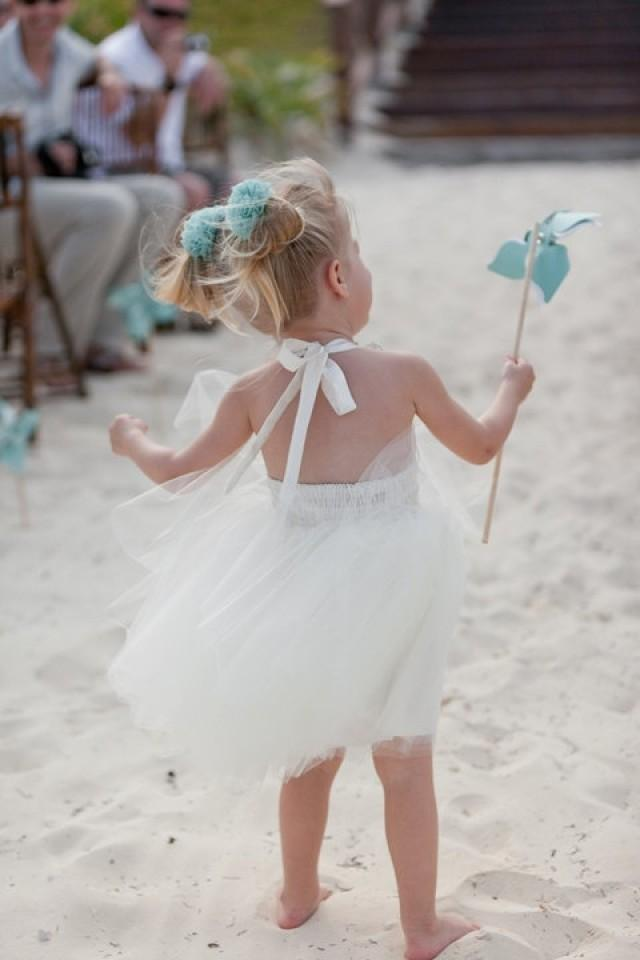 beach wedding flower girl dress destination wedding flower dress in ivory 1585