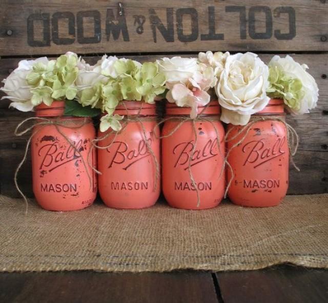 Very Mason Jars, Ball Jars, Painted Mason Jars, Flower Vases, Rustic  MH92
