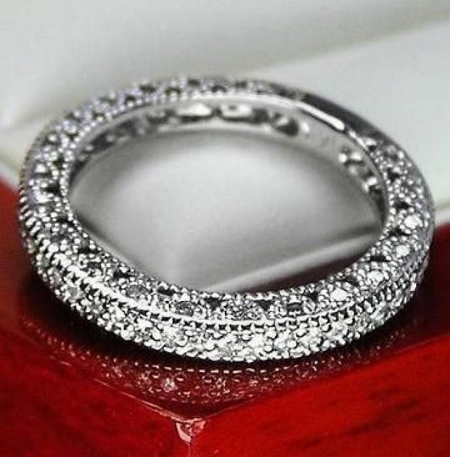 Unique Vintage Genuine Diamond Wedding Band Ring For Women 14k Solid White Gold 2044236 Weddbook