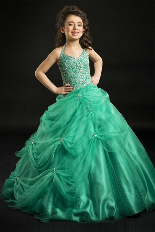 Vestido de color verde jade para ninas