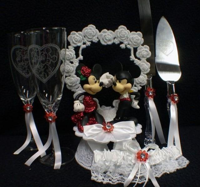 disney wedding cake set mickey amp minnie mouse wedding cake topper lot glasses 13587