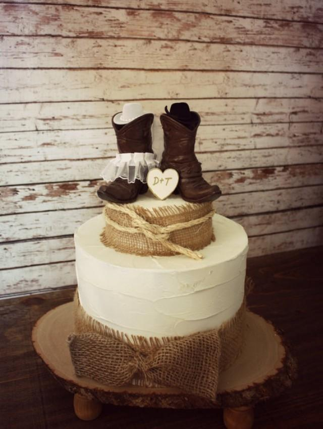 rustic country wedding cake country western wedding cowboy boots wedding cake topper 19493