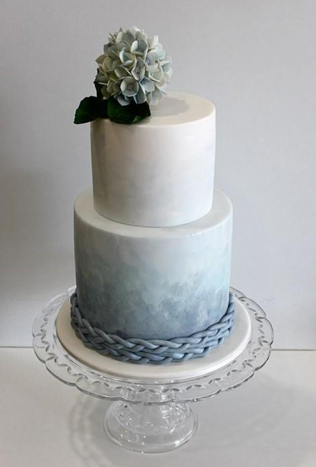 blue and white 2 tier wedding cake two tier blue ombre wedding cake a watercolor wedding 11962