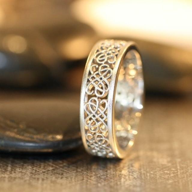 Keltische Hochzeits Ring 14 Karat Weißgold Einzigartige Mens Wedding Band Altgold Celtic Knot Liebesknoten Sonstige M 2140349 Weddbook