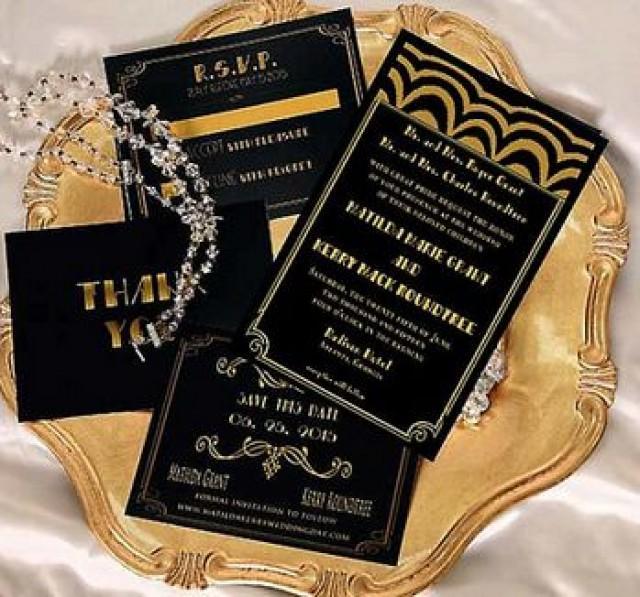 Gatsby Wedding Invitation Old Hollywood Invitations Black Gold Art Deco Listing Is For Sample Only 2145454 Weddbook