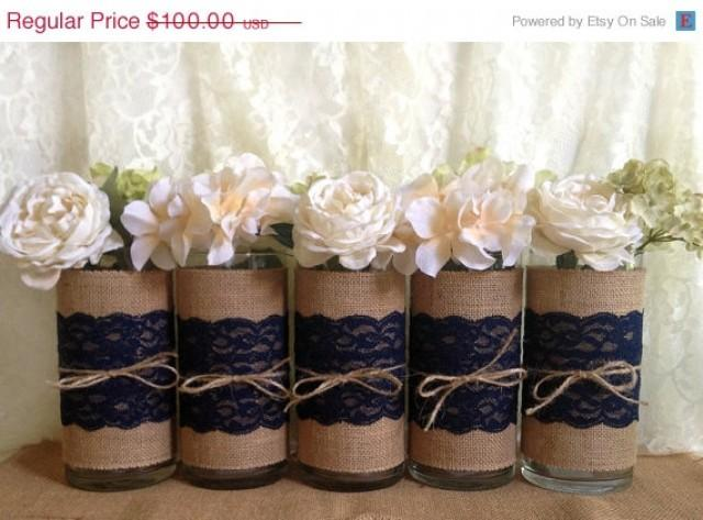 burlap wedding decorations for sale 3 day 5 navy blue burlap and lace covered glass vase 2147
