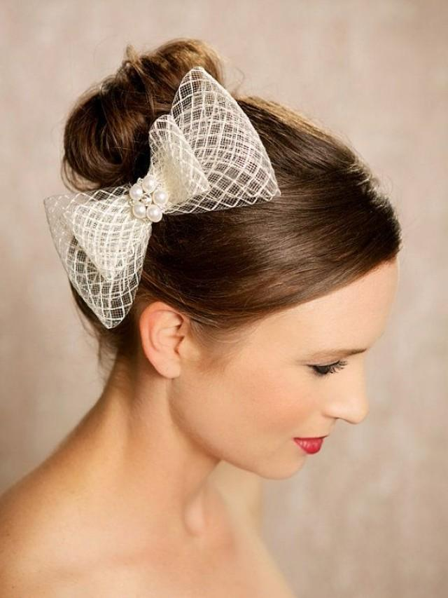 hair clip styles ivory bow bridal hair accessories birdcage bow 2392