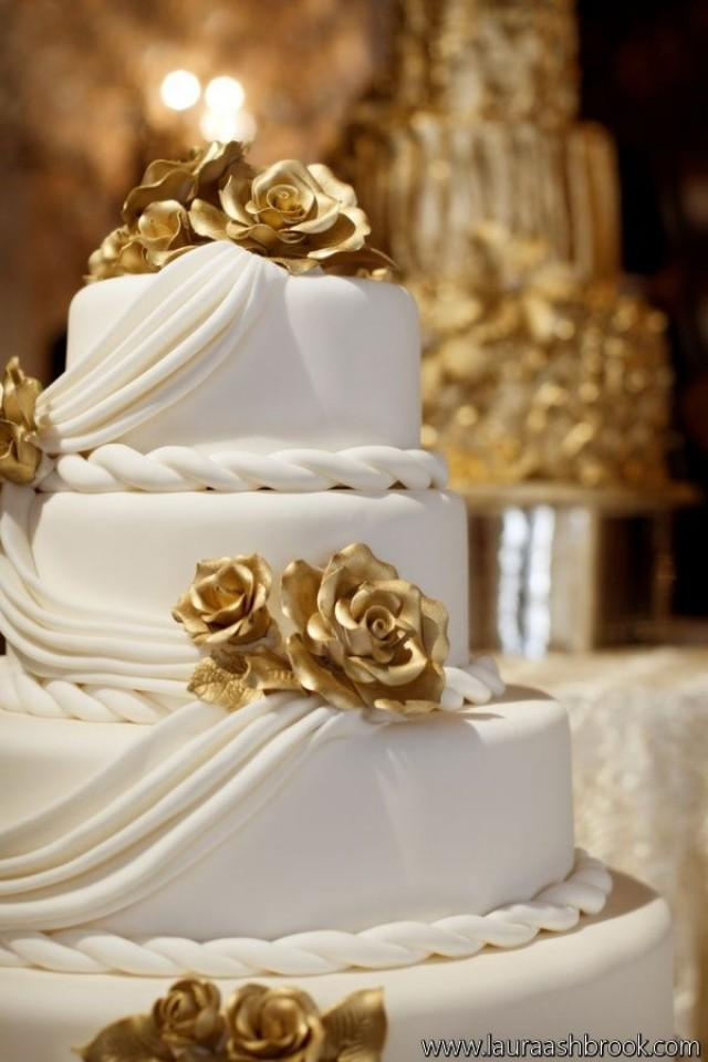 white and gold wedding cake ideas gold wedding white amp gold wedding cakes 2195342 weddbook 27205