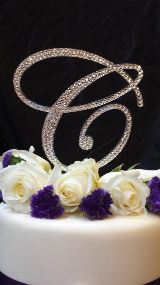 monogram wedding cake toppers with swarovski crystals 6 quot initial monogram wedding cake topper swarovski 17528
