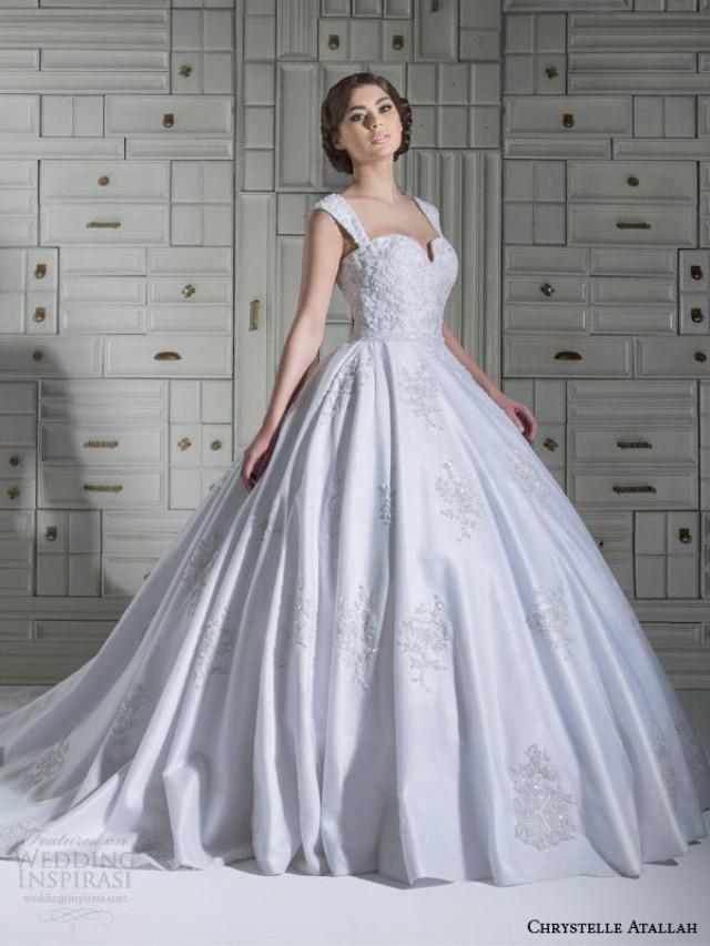 cheap ball gown wedding dresses 2015 new chrystelle atallah applique beaded satin 2568
