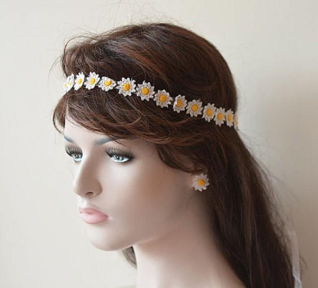 flower headbands for weddings wedding hair accessories wedding crochet flower 4196
