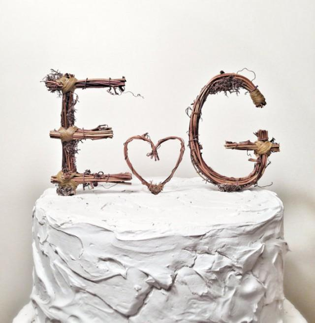 wedding cake toppers letters rustic monogram wedding cake topper personalized any two 26517