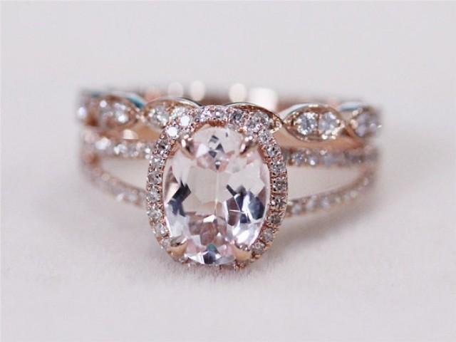 2 Rings Set VS 6x8mm Pink Morganite Ring With Diamond Matching