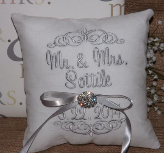 Ring Bearer Pillow Mr Mrs Wedding Embroidery Monogram Custom Personalized Pillows 2232346 Weddbook