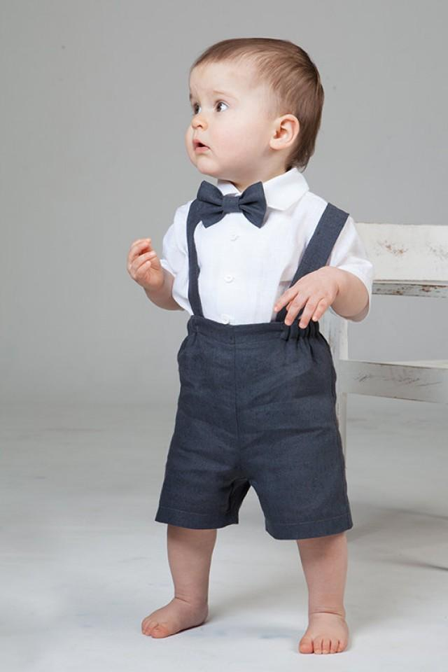 Boy Linen Suit Ring Bearer Outfit Baby Clothes Set Of 4 First Birthday Baptism Suspenders Kids Natural Summer Rustic Wedding Beach Grey 2234257