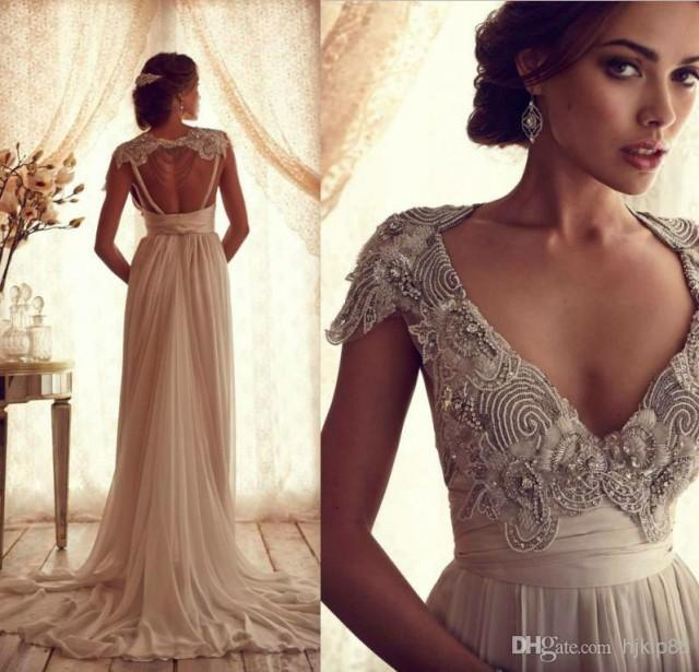 Tel Beads Lace Wedding Dress Inspired Latest Deep V Open Back Bridal Gown Sweetheart Vintage Online With 127 72 Piece On Hjklp88 S