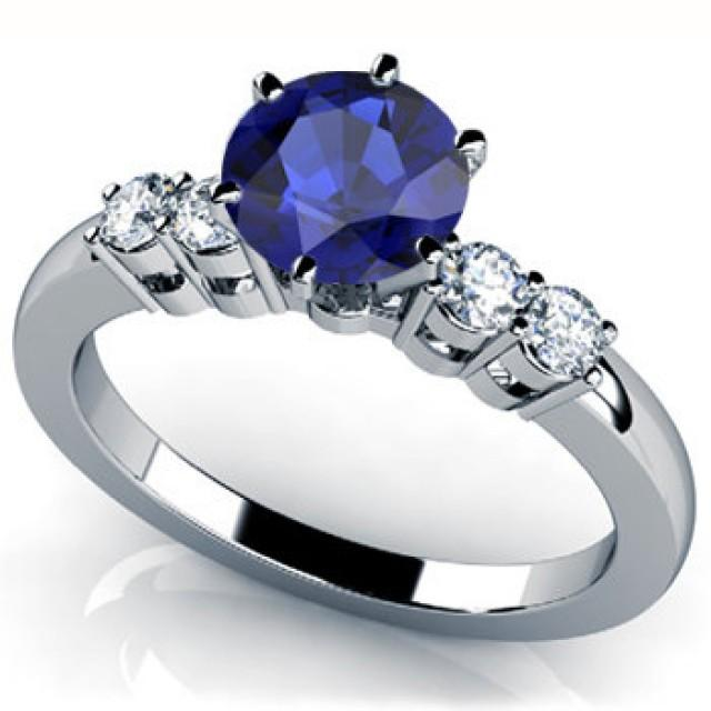 birthstone wedding rings blue sapphire engagement ring 14k white gold with diamonds 1799