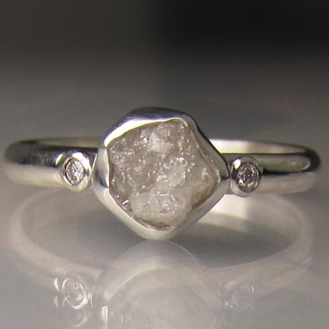 Raw White Diamond Engagement Ring Recycled Palladium Sterling Silver Rough Uncut Conflict Free 2244433 Weddbook
