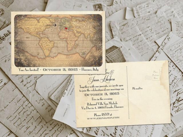 50 Wedding Invitation Postcards Destination Vintage Rustic Photo Personalized 4 X6 2244976 Weddbook