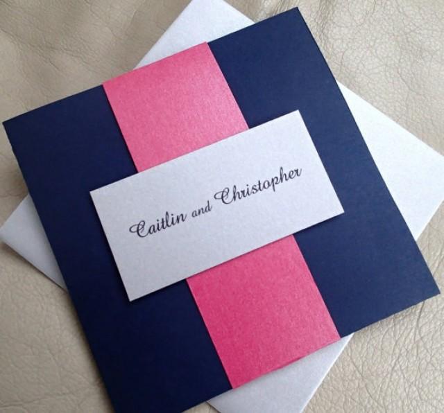 Pocket Fold Wedding Invitation Navy Blue Silver Pink Modern 2251115 Weddbook