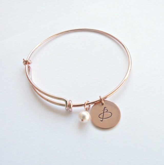 Rose Gold Initial Bangle Personalized