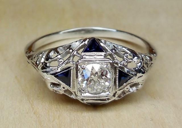 Vintage Antique 70ct Old European Cut Diamond Shire 14k White Gold Engagement Ring 1920 S Art Deco Filigree 2262703 Weddbook