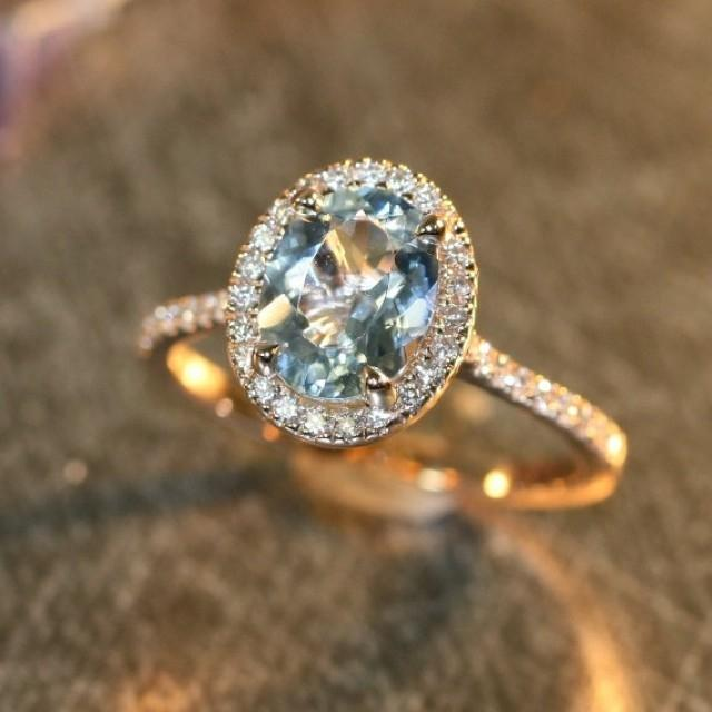 Halo Diamond And Aquamarine Engagement Ring In 14k Rose Gold 9x7mm